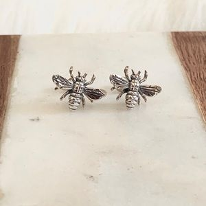 Sterling Silver Honey Bee Earring Queen Bee .925